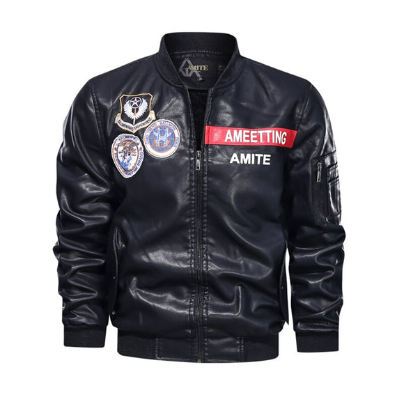 Men's PU Leather Jacket Motorcycle Classic Biker Jacket Casual Fashion Stand Collar Baseball Coat