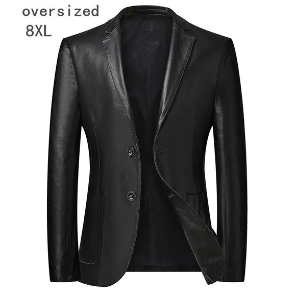 7XL 8XL Men's single-breasted blazer, faux leather motorcycle jacket,t casual business clothes (oversized plus size)