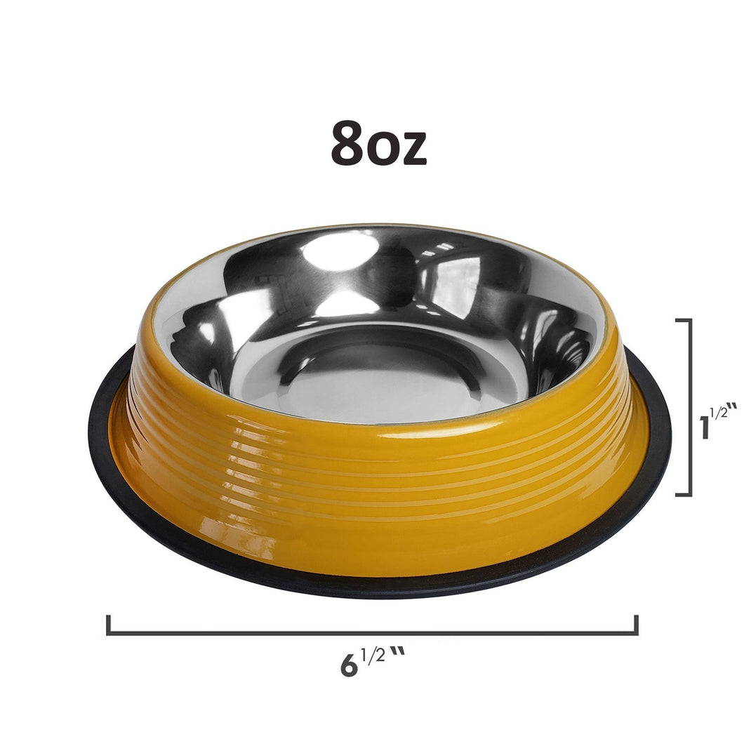 Jojo Heavy Gauge Dog Bowls with Rubber Ring Base in Yellow