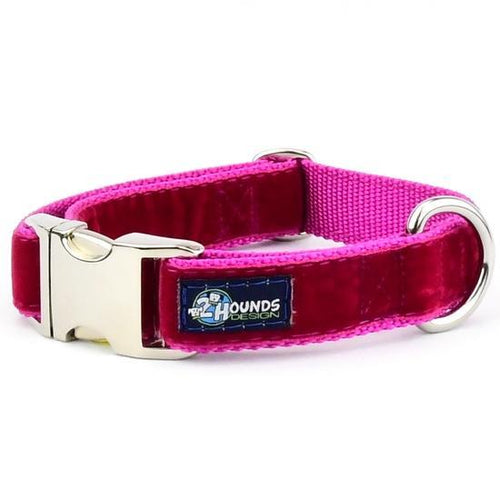 2 Hound Design Swiss velvet collar Raspberry