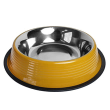 Load image into Gallery viewer, Jojo Heavy Gauge Dog Bowls with Rubber Ring Base in Yellow