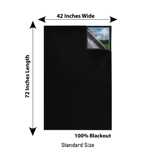 Sun Shades Window Darkening Sheet Sleeping Room Light Blocking Curtain Blackout (42 X 72 inches)