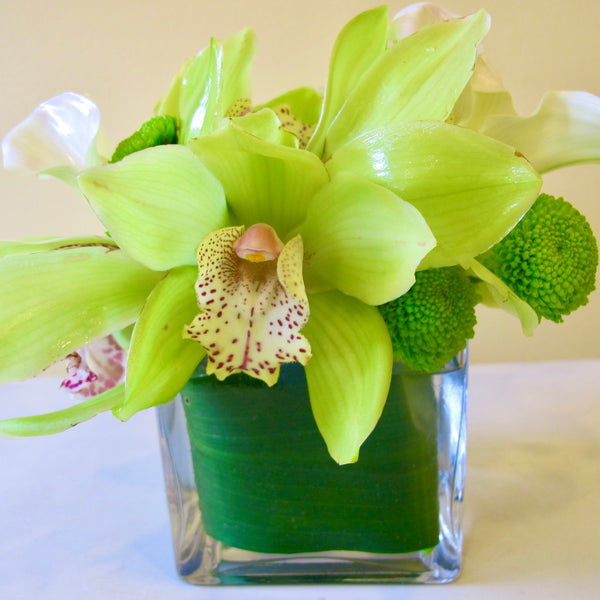 Flowers used: chartreuse cymbidium orchids, white calla lilies, green mini mums