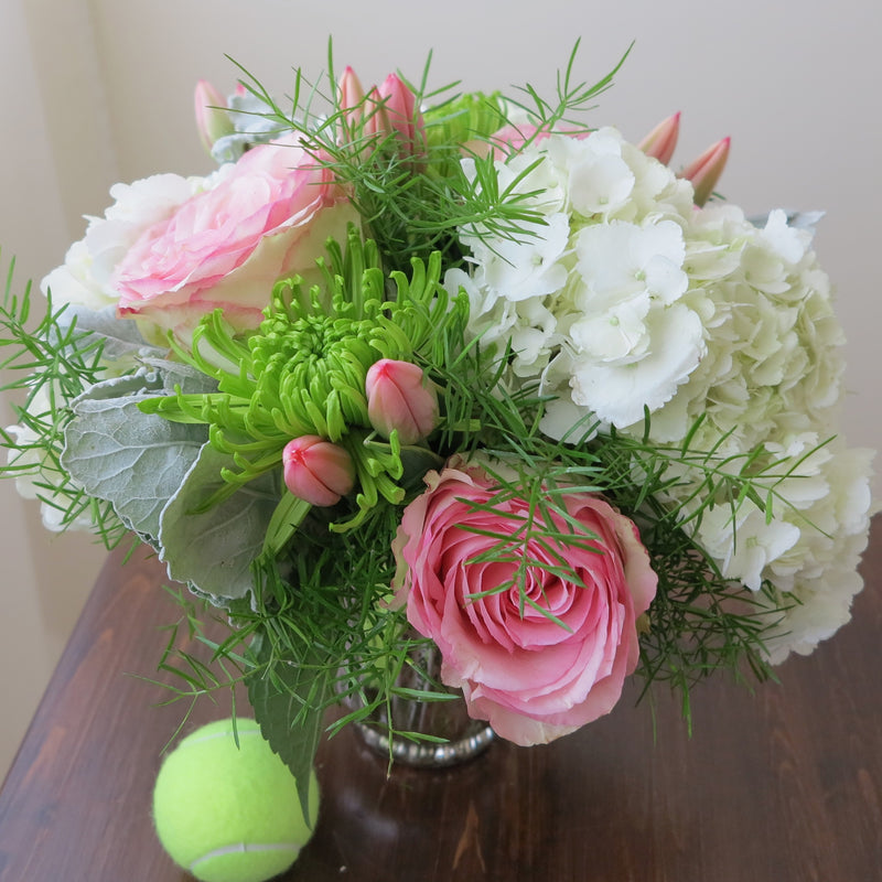 Flowers used: pink tulips and roses, green chrysanthemums, white hydrangeas