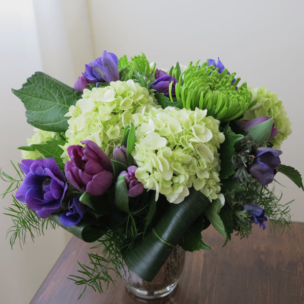 Flowers used: mauve tulips, green chrysanthemums, purple anemones, green hydrangeas