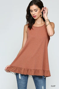 CLAY RUFFLE DETAIL LACE BACK SLEEVELESS TOP
