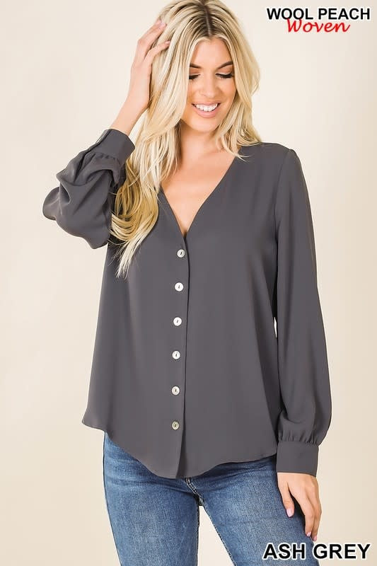 ASH GREY WOVEN SHELL BUTTON DOWN LONG SLEEVE BLOUSE