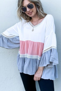 MULTI COLOR BLOCK RUFFLE LACE DETAIL BELL SLEEVE TOP