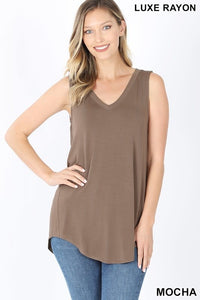 LUXE RAYON SLEEVELESS VNECK HI LOW HEM TOP