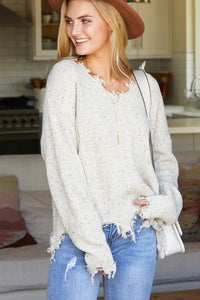 OATMEAL DISTRESSED LONG SLEEVE V NECK KNIT SWEATER