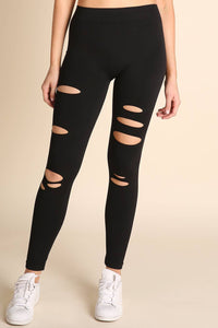 SOLID BLACK DISTRESSED LEGGINGS