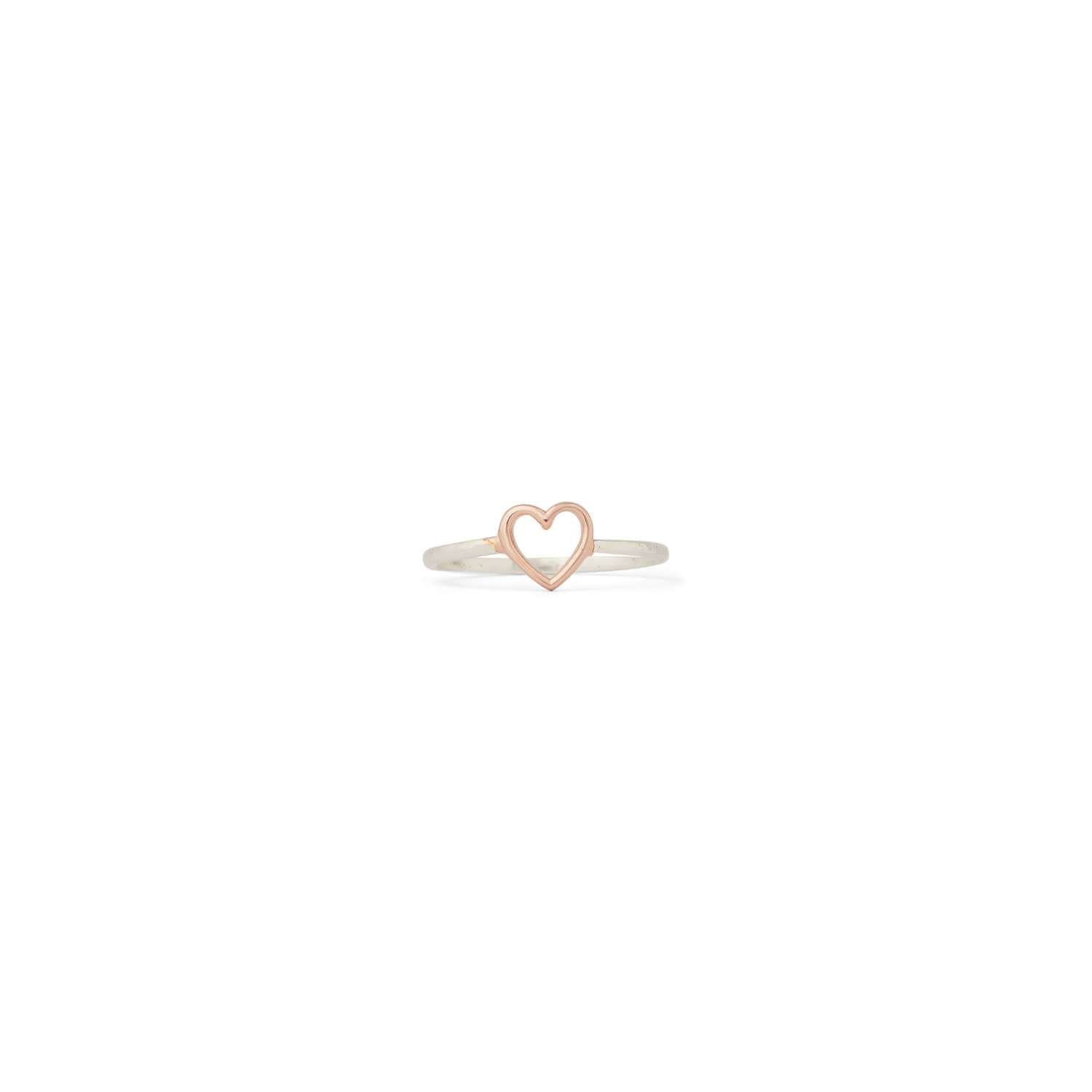 PURA VIDA ROSE GOLD OPEN HEART RING SILVER