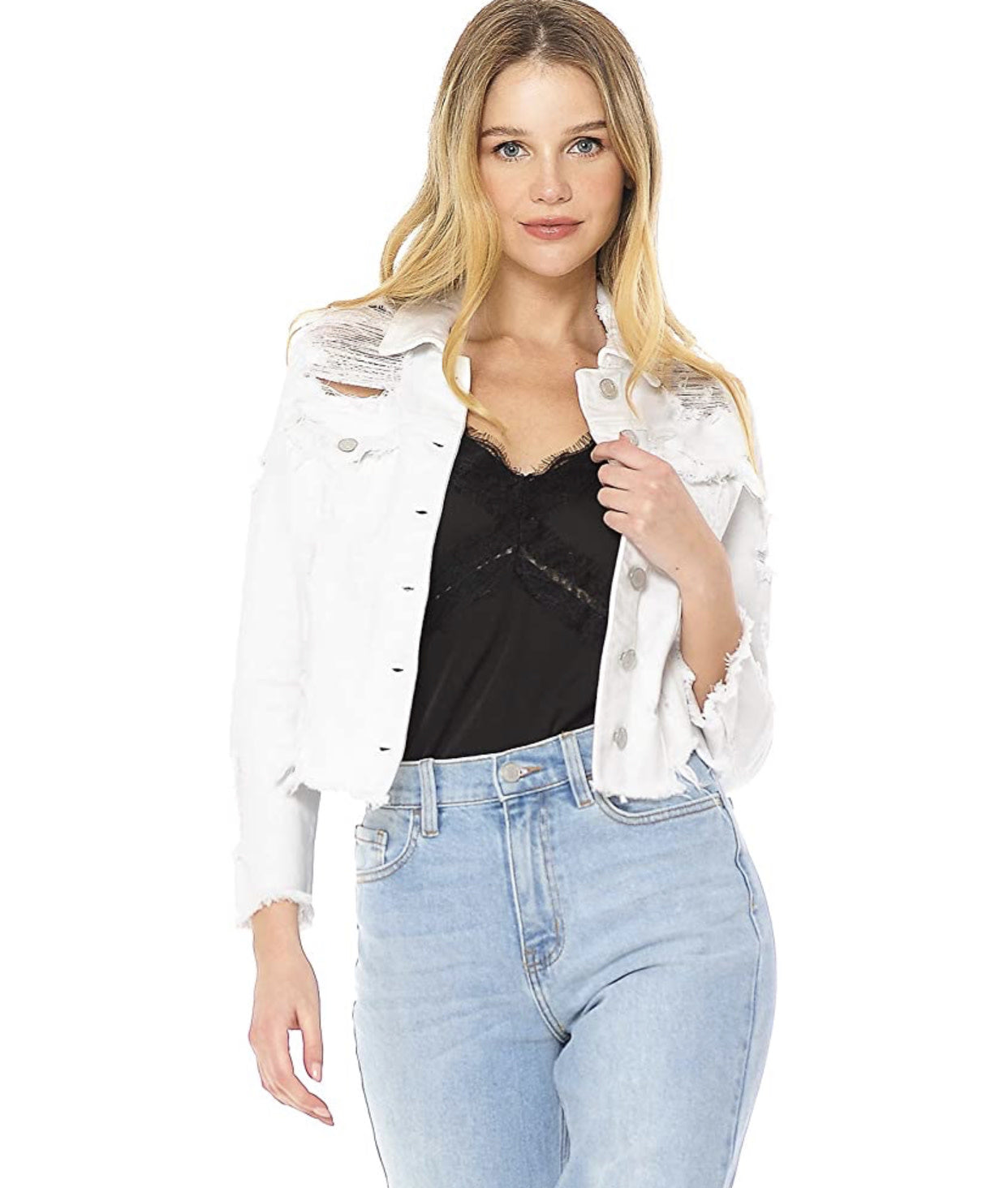 WHITE UNEVEN FRAYED DENIM JACKET