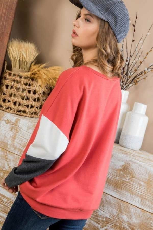 CORAL LONG SLEEVE COLOR BLOCK FRENCH TERRY TOP