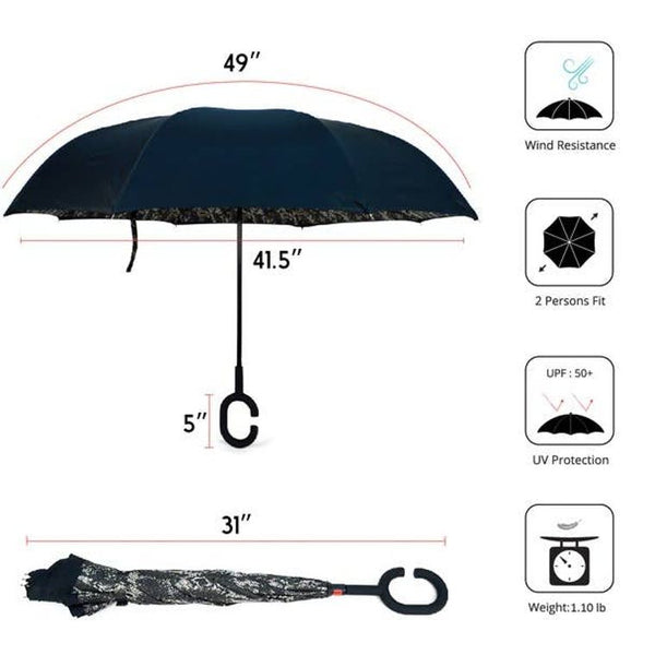 Snake Print Double Layer Inverted Umbrella