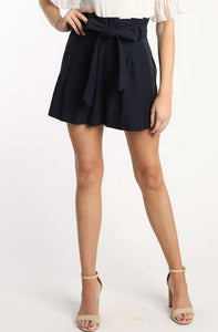 NAVY PAPERBAG WAIST SHORTS WITH TIE BELT