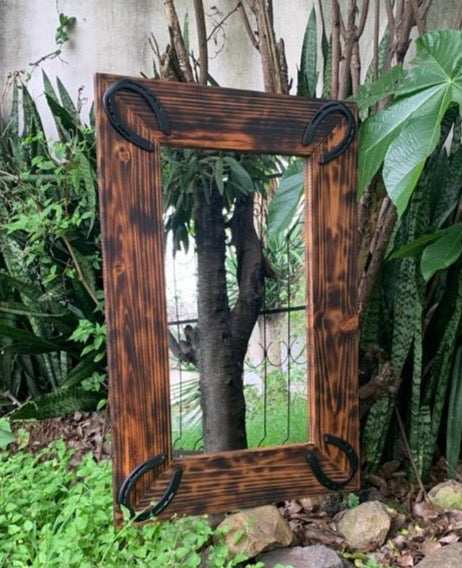 Rustic Wooden Mirror with Hardware