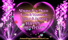 Load image into Gallery viewer, #365 Pretty Purple Heart Happy Birthday Wishes