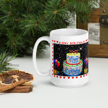 Load image into Gallery viewer, #406 Hearts of Love Tower Cake Happy Birthday Mug