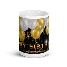 Load image into Gallery viewer, #419 Gold & White Balloons Happy Birthday Mug