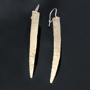 Long Hammered Brass or Copper Earrings C74