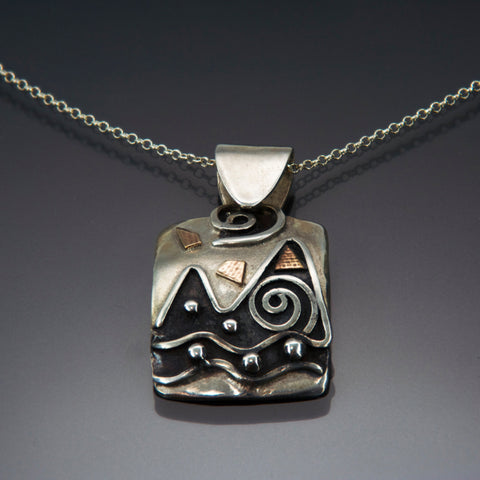 Mountain Water Silver Necklace Black Patina P06