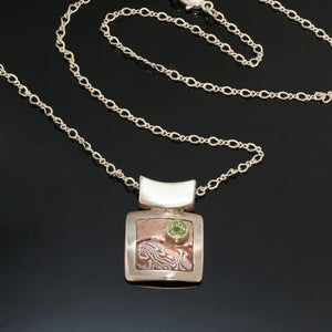 Square Mokume Silver Gold Peridot Necklace - Mokume Gane - Nature Inspired Necklace - Dressy - Three Tone Necklace - Handmade in BC Canada