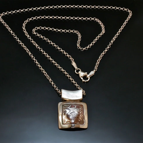 Square Silver Necklace with Inlayed Mokume P123