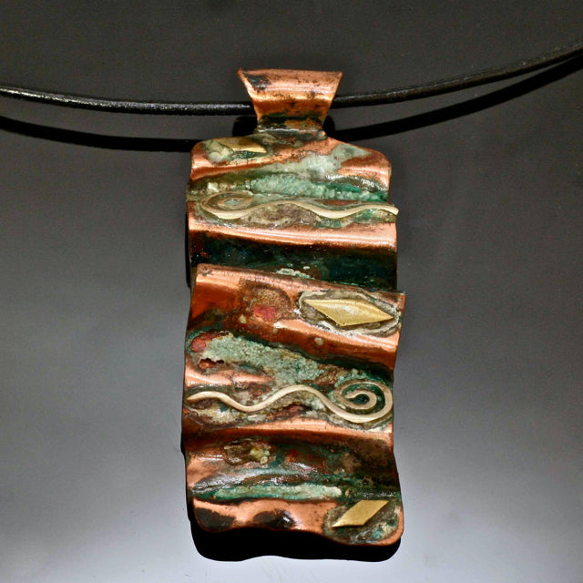 Fold Form Copper Necklace Oxidized Blue Green PC5