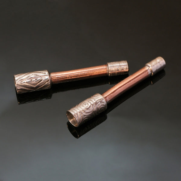 Travel Size Smoking Pipe Silver Copper - Toker