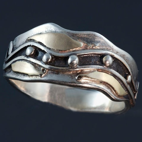 Oxidized Silver Gold Ring Waves