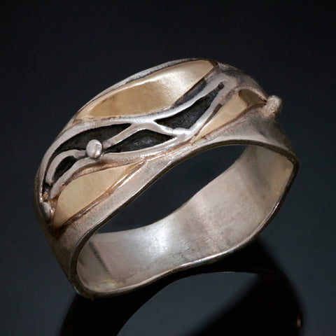 Silver Gold Black Patina Ring - Waves - Narrow - Alternative Wedding - Commitment Ring - Handmade in BC Canada