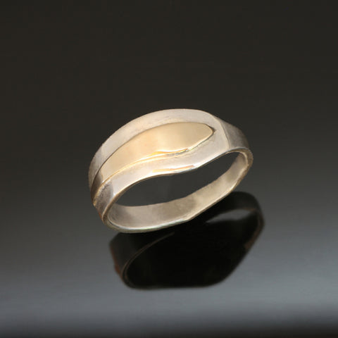 Wide Delicate Wavy Silver Yellow Gold Ring R193W