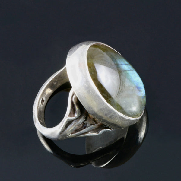 Silver Ring Large Oval Blue Iridescent Labradorite