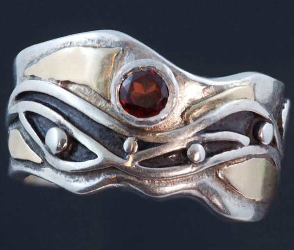 Silver Gold Ring Waves Spirals, peridot, cubic zirconia, garnet, blue topaz cabochon, synthetic blue sapphire R71