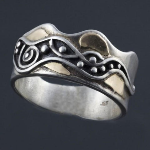 Mens Oxidized Silver Gold Ring