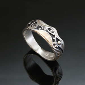 Silver Gold Ring Oxidized Spiral Waves Narrow R85N