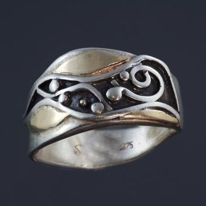 Silver Gold Ring Oxidized Spiral Waves Wide R88
