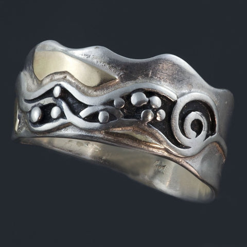 Oxidized Silver Gold Ring with waves and spiral