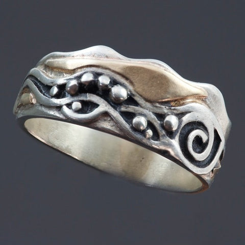Oxidized Silver Gold Ring