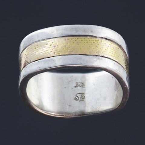 Silver Gold Inlay Ring R194