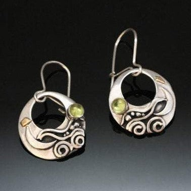 Peridot Silver Gold Earrings Round - Sun Moon Water - Nature Inspired - Matching Necklace - Black Patina - Dressy - Handmade in BC Canada