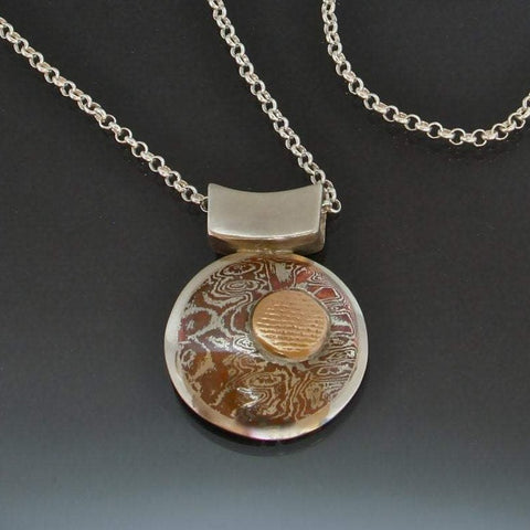 Round Mokume Silver Gold Necklace - Mokume Gane - Three Tone - Dressy - Nature Inspired - Copper Silver Mokume - Handmade in BC Canada