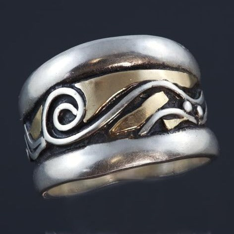 Wide Oxidized Silver Gold Ring - Black Patina - Waves Spiral - Double Band - Commitment Ring - Handmade in BC Canada