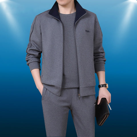 Men 3 Pieces Cotton Sportwear Suit Men Fitness Comfortable Tracksuit Sport Good Quality Running Sets L-5XL Tracksuits
