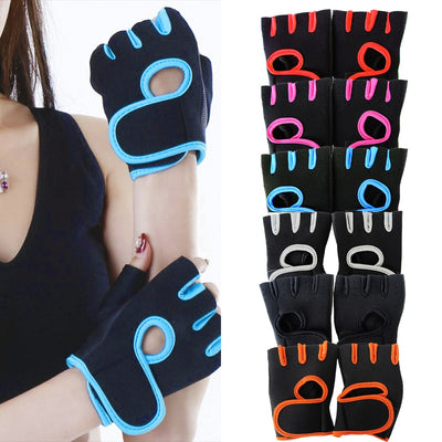1 Pair Men Women Gym Half Finger Sports Fitness Exercise Training Wrist Gloves