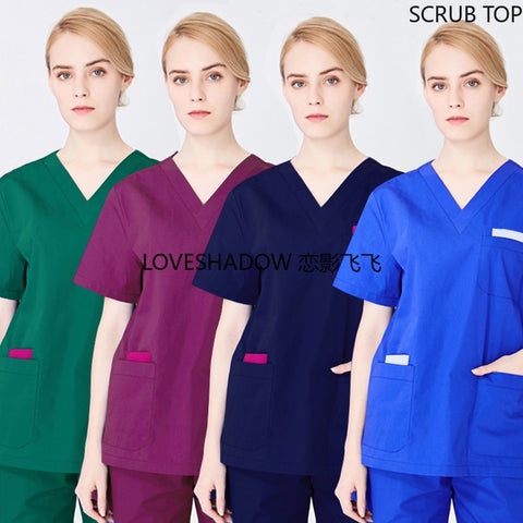 Women Scrub Top Doctor Uniforms Color Blocking Short Sleeve Scrubs Men V Neck Workwear Nursing Clothes Cotton Nurse Uniforms
