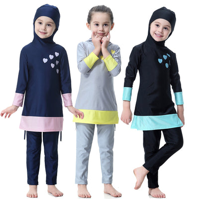 Muslim Kid Girl Full Cover Swimwear Islamic Color Match Overall Burkini Abaya Soft Long Swimsuit with Cap Beachwear Bathing Suit