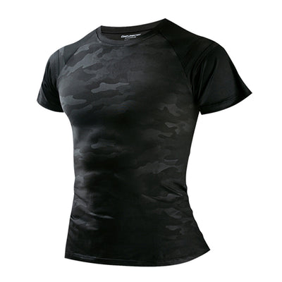Men's Quick-drying Running Training Short-sleeved Fitness T-shirt Black Camouflage Cold Fabric For Running Walking Fitness Sport