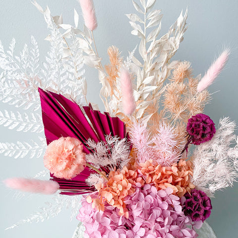 Eclectic Shabby Chic Dried Flower Arrangement. Colourful Pink Orange Vibrant Bright